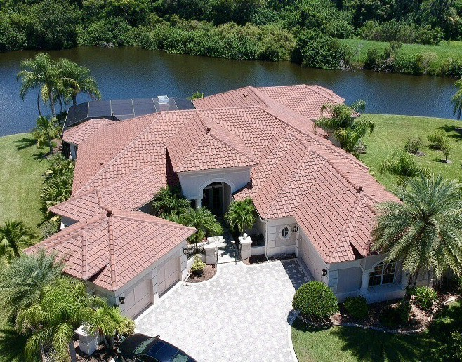 Aerial View of Tile Roof by Zoller Roofing in Sarasota FL