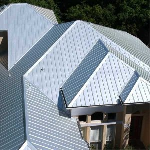 Close up of 5-V Metal Roof in Sarasota FL by Zoller Roofing