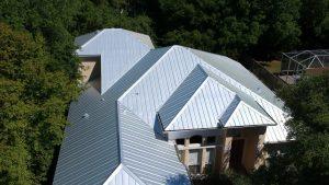 Ariel View of 5-V Metal Roof, Zoller Roofing, Sarasota FL