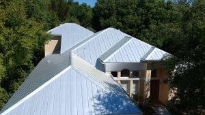 Aerial View of 5-V Metal Roof, Zoller Roofing, Sarasota FL