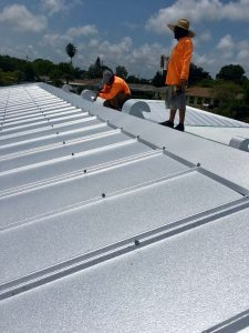 Close Up of Installation of Metal Roof Panels, Zoller Roofing, Sarasota FL
