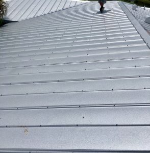 Close Up View of Metal Roof Installation in Progress by Zoller Roofing in Sarasota FL