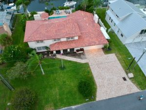 Aerial View Coral Springs Blend Capistrano Barrel Tile Roof by Zoller Roofing in Sarasota FL