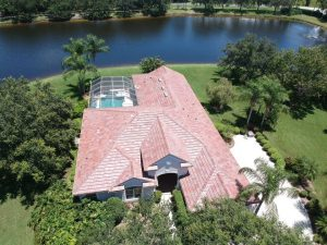 Aerial View of Flat Tile Blend Roof by Zoller Roofing in Sarasota FL