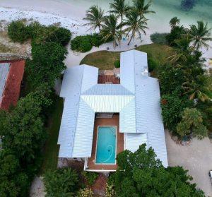 Aerial View of 5V Metal Roof, Siesta Key, Side View, Zoller Roofing, Sarasota FL