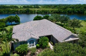 Aerial View of Textured Slate Flat Tile Roof by Zoller Roofing in Sarasota FL