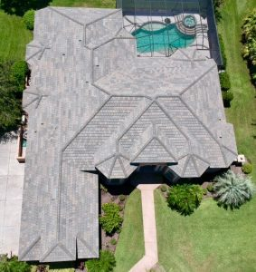 Aerial View Chatham Blend Flat Tile Roof by Zoller Roofing in Sarasota Fl