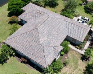 Aerial View of Slate Blend Flat Tile Roof by Zoller Roofing in Sarasota FL