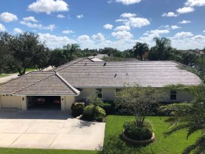 Rear View of Flat Tile Roof by Zoller Roofing in Sarasota FL