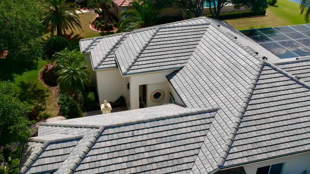 Eagle Tile Flat Slate Blend Left Side, Zoller Roofing, Sarasota FL