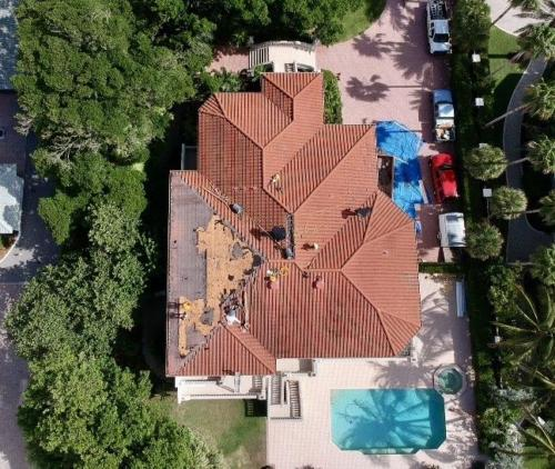 Longboat Key Tile Reroof in Progress, Zoller Roofing, Sarasota FL