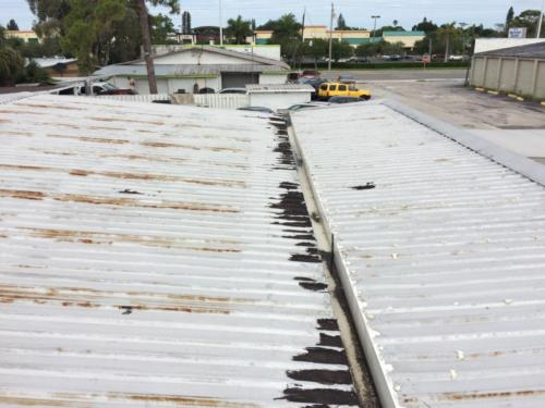 Commercial Metal Roof BEFORE, Zoller Roofing, Sarasota FL