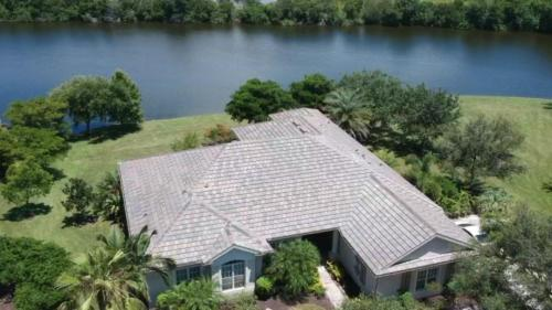 Eagle Flat Tile Roof, Slate Color, Zoller Roofing, Sarasota FL 1