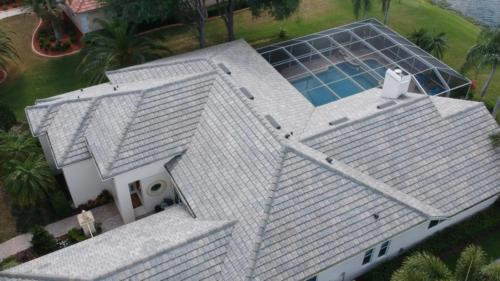 Eagle Flat Tile Roof Birds Eye View Zoller Roofing, Sarasota FL