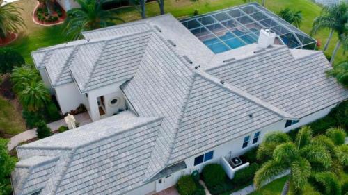 Eagle Flat Tile Slate Blend Birds Eye View, Zoller Roofing, Sarasota FL