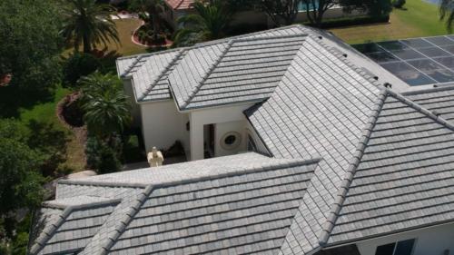 Left Side Close Up Eagle Flat Tile Roof, Zoller Roofing, Sarasota FL