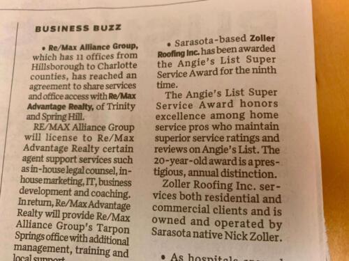 Sarasota Herald Tribune Zoller Roofing Super Service Award 2-19-20